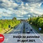 """JP """"PUTEVI SRBIJE"""": SERVISNE INFORMACIJE Stanje na putevima 01 april 2021"""